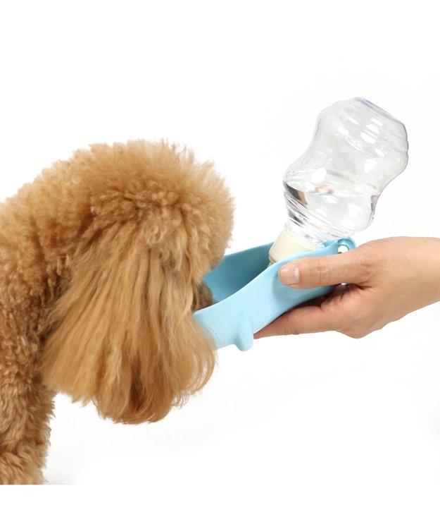 PET PARADISE ぺティソワン 受け皿付きお水携帯ボトル 携帯水のみボトル 青