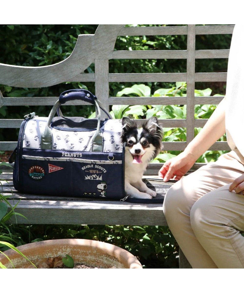 PET PARADISE スヌーピー ペットキャリーバッグM スカウト柄折畳み〔小型犬〕752-60169 紺(ネイビー・インディゴ)