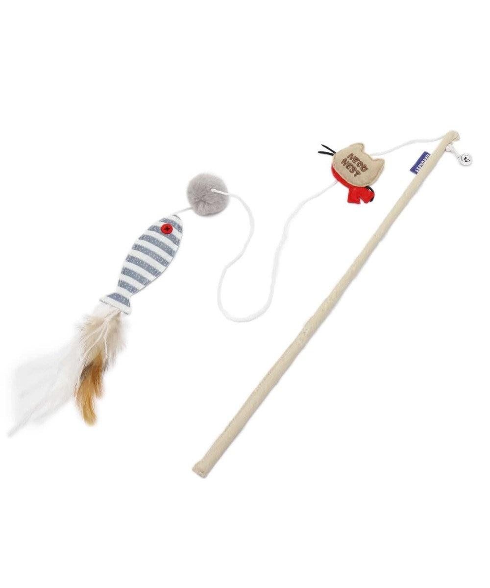 PET PARADISE ネコネスト 猫用おもちゃ 猫じゃらし ナチュラル 魚と羽 0