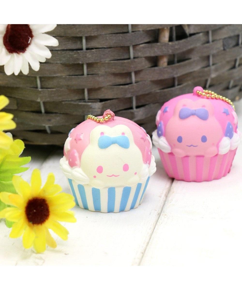 Mother garden うさもも キーホルダー うさみみカップケーキ【MGスクイーズ】 ピンク(淡)