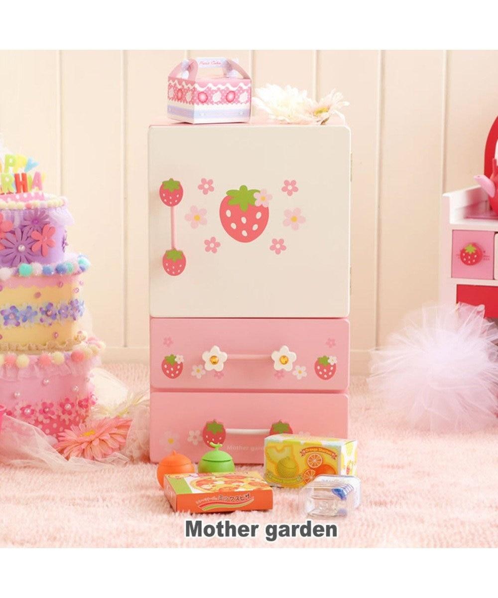 Mother garden ぬくもりが感じられる木のおままごと。 《32000個突破》マザーガーデン 木製 おままごと ままごと 野いちご プチ冷蔵庫 《キューティー柄》 小物パーツ16点付き 木のおもちゃキッチン おままごとセット 子供 いちご 女の子 おままごとキッチン ピンク(淡)