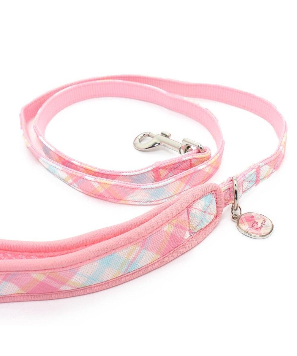 PET PARADISE プリティブーケ チェックリボンリード 4S~3S ピンク(淡)