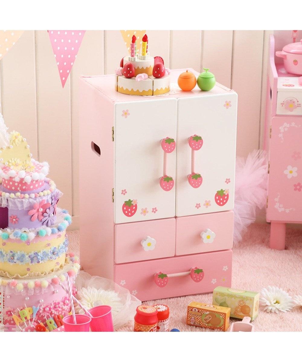 Mother garden 《9000個突破》マザーガーデン 木製 おままごと ままごと セット 野いちご キューティーデラックス 冷蔵庫 《ピンク》 キッチン 木のおもちゃ 知育玩具 台所 お誕生日プレゼント 子供の日 ピンク(淡)