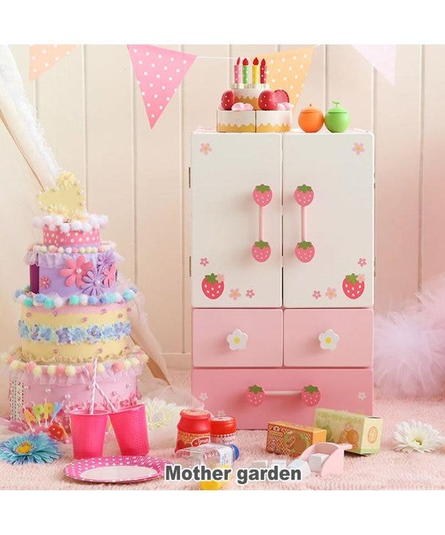 Mother garden 《9000個突破》マザーガーデン 木製 おままごと ままごと セット 野いちご キューティーデラックス 冷蔵庫 《ピンク》 キッチン 木のおもちゃ 知育玩具 台所 お誕生日プレゼント 子供の日
