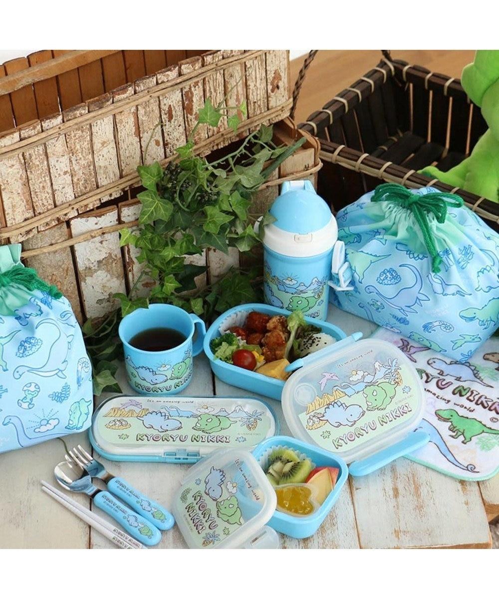 Mother garden マザーガーデン きょうりゅう日記 ストロー付きプラボトル 水筒400ml 水色