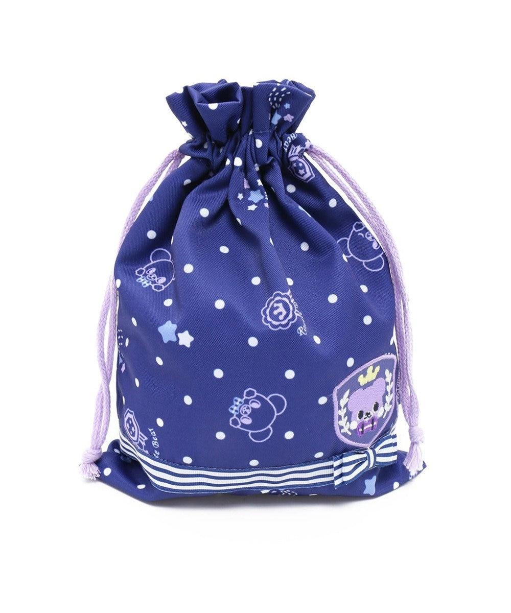Mother garden マザーガーデン くまのロゼット キルト巾着小 紺(ネイビー・インディゴ)