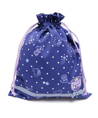 Mother garden マザーガーデン くまのロゼット キルト巾着大 紺(ネイビー・インディゴ)
