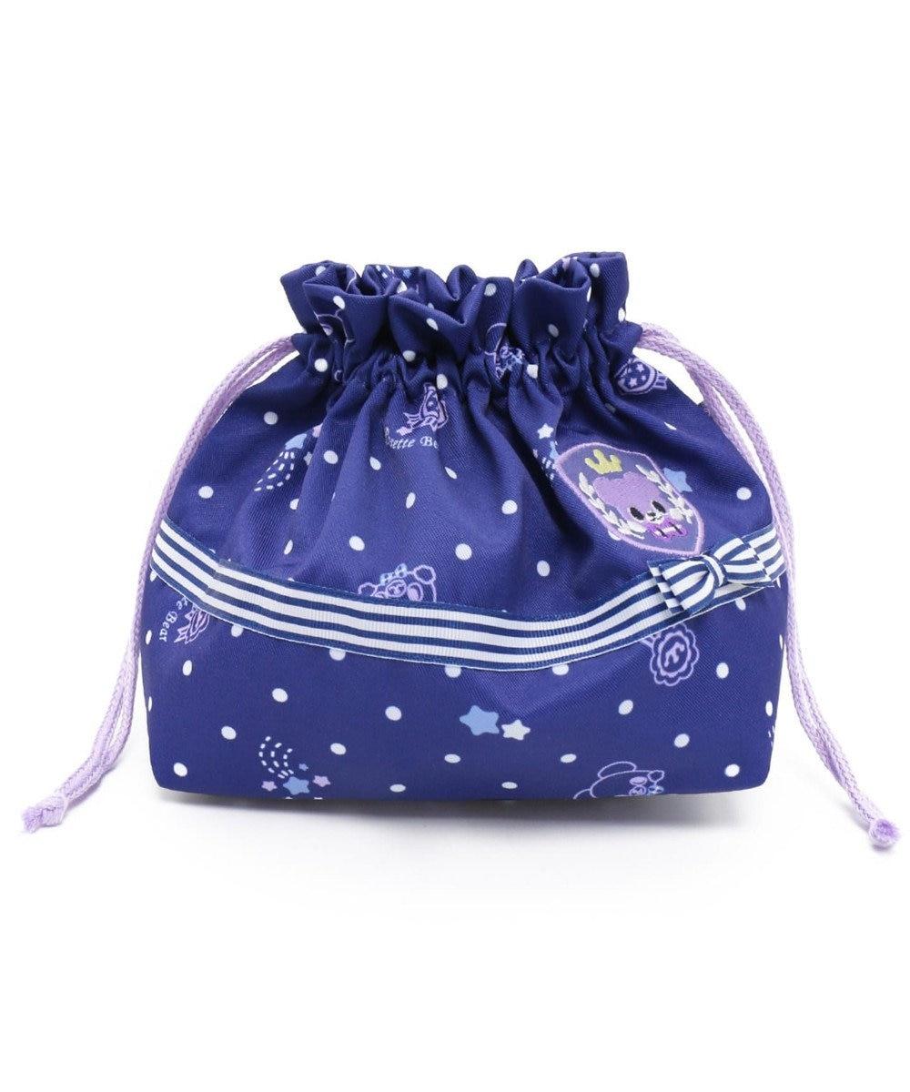 Mother garden くまのロゼット 巾着袋 お弁当袋 紺(ネイビー・インディゴ)