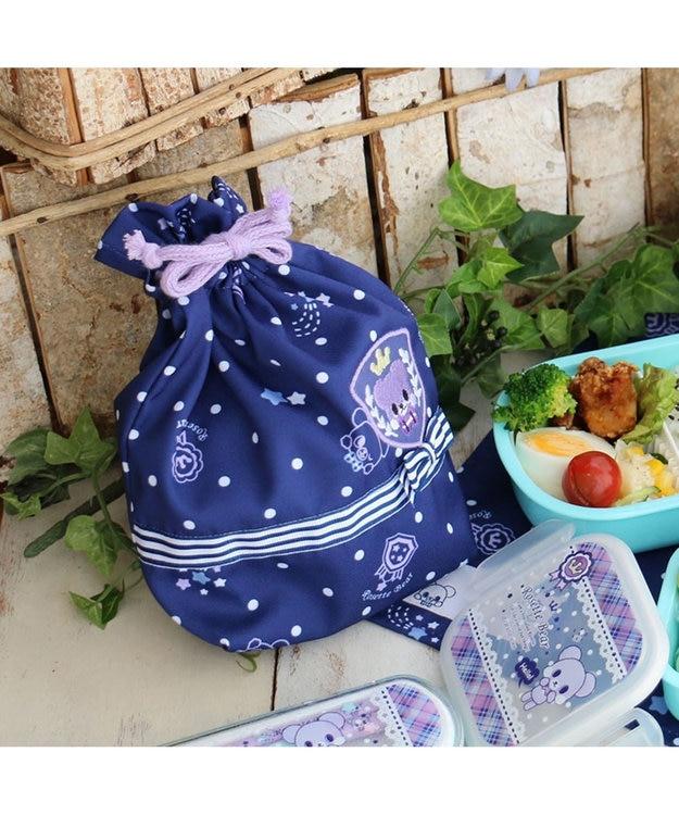 Mother garden くまのロゼット コップ巾着袋 コップ着袋 紺(ネイビー・インディゴ)