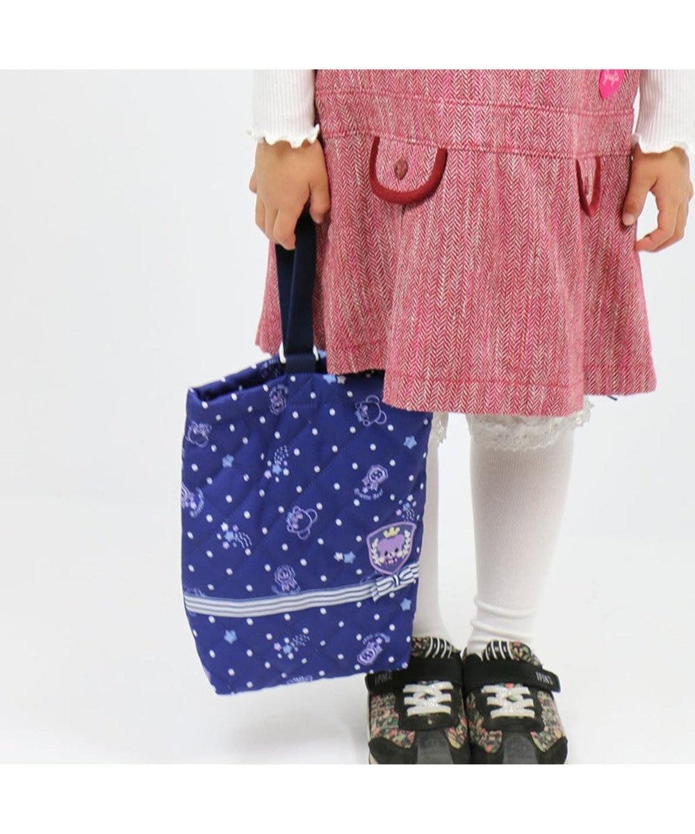 Mother garden マザーガーデン くまのロゼット キルトシューズバッグ上履き入れ 紺(ネイビー・インディゴ)
