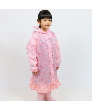 Mother garden うさもも レインコート 雨具 かっぱ レースフラワー柄 ピンク(淡)