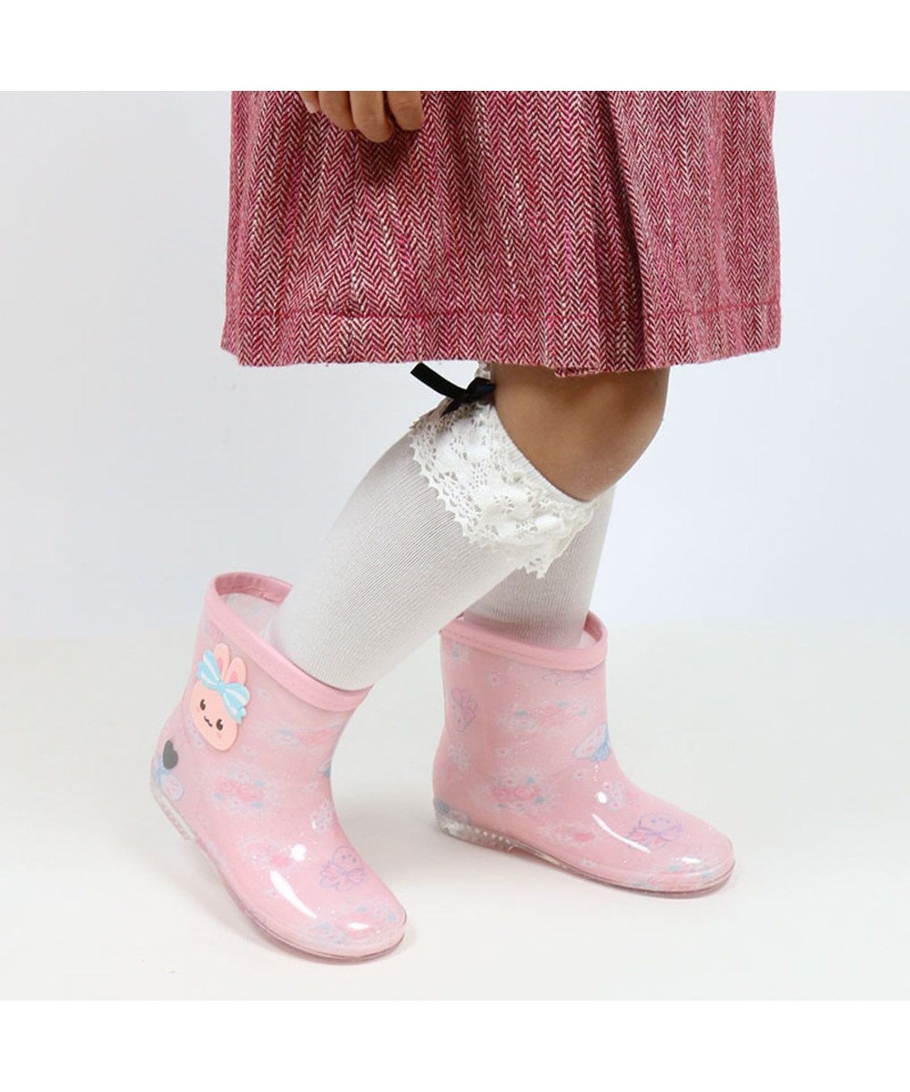 Mother garden うさもも レインブーツ 長靴 レースフラワー柄 ピンク(淡)