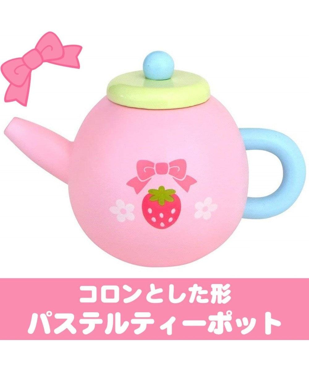 Mother garden 【ネット店限定】木のおままごと スウィートカフェリボン&ポット ピンク(淡)