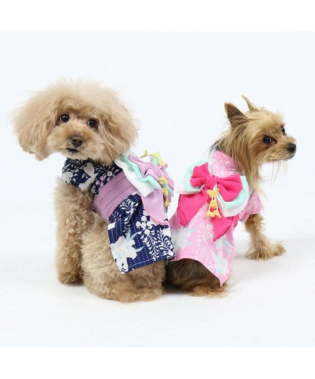 PET PARADISE プリティブーケ 藤百合柄浴衣 ゆかた [中/大型犬]