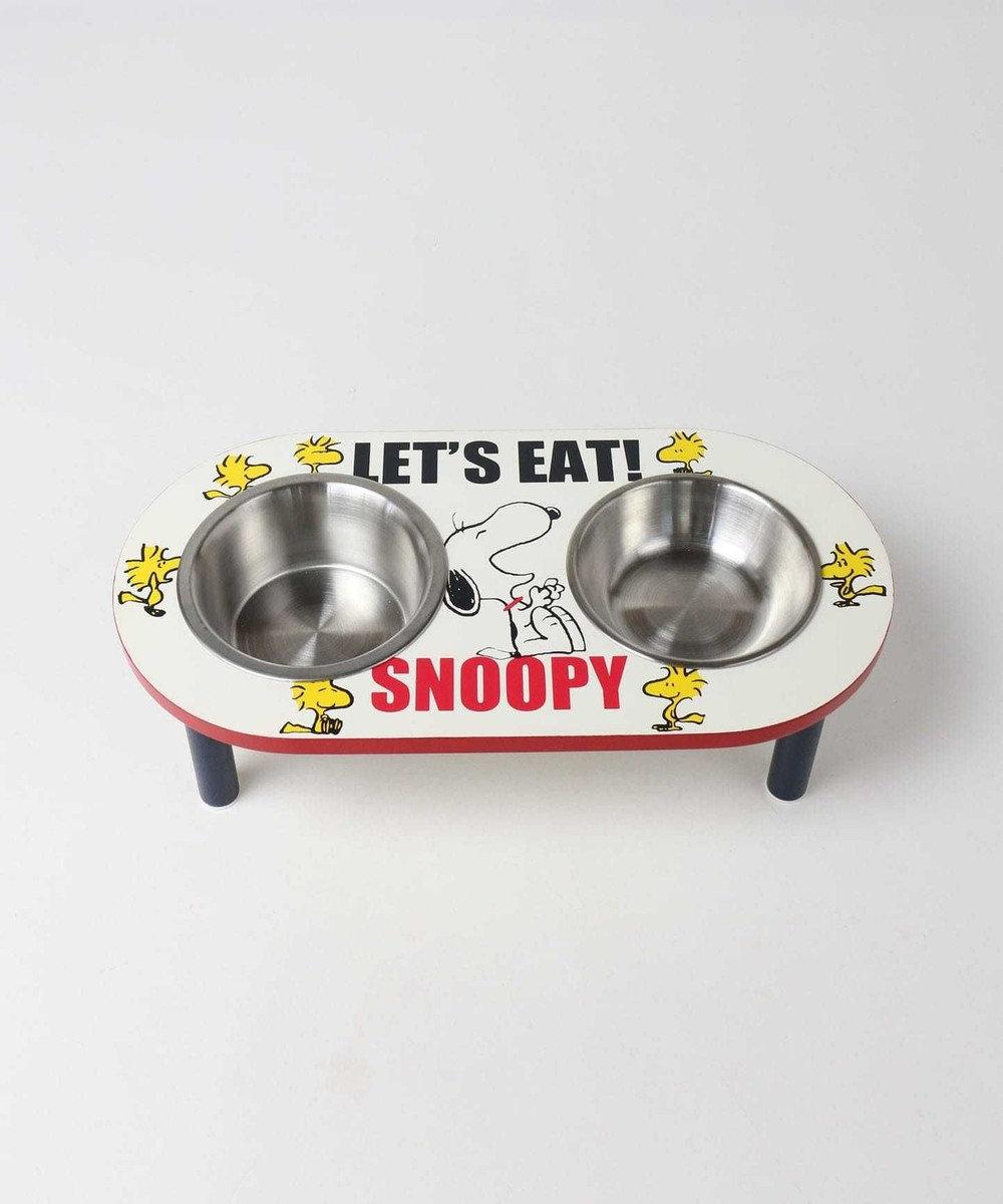 PET PARADISE スヌーピー フードボウル 犬 フードスタンド ペット用えさ皿 星柄 MDF 2皿タイプ フードスタンド 白~オフホワイト
