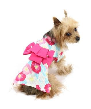 PET PARADISE プリティブーケ 椿ゆかた 浴衣[中/大型犬] ピンク(濃)