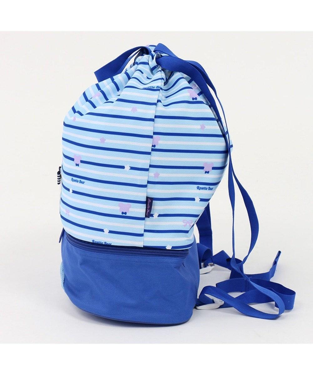 Mother garden くまのロゼット プールバッグ 水泳バッグ 巾着タイプ プール 紺(ネイビー・インディゴ)