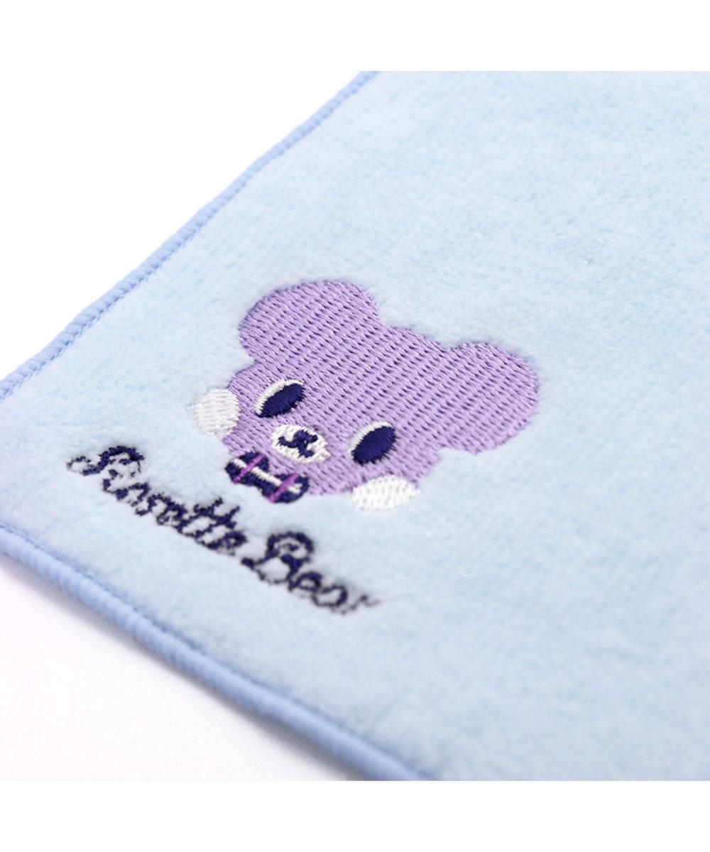 Mother garden くまのロゼット 刺繍タオル ふわふわ ブルー 水色