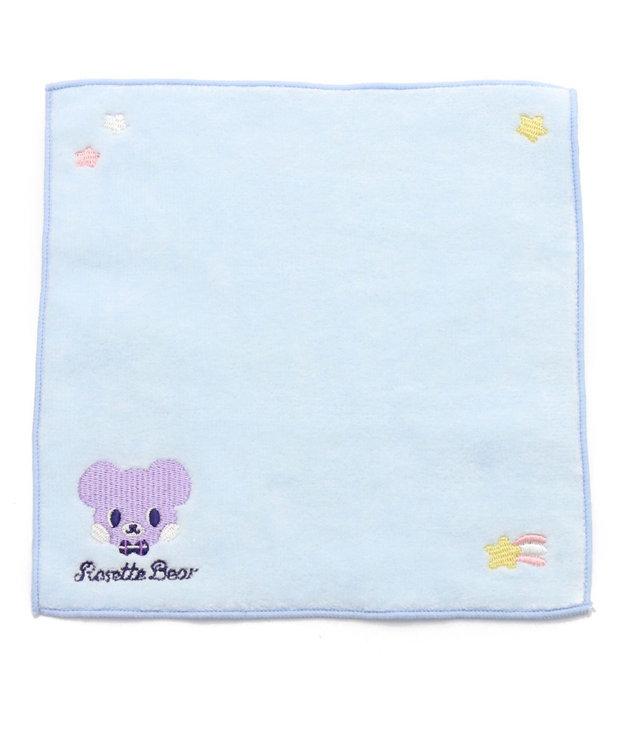 Mother garden くまのロゼット 刺繍タオル ふわふわ ブルー
