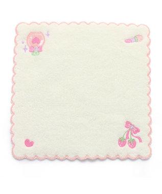 Mother garden マザーガーデン 刺繍タオル ふわふわ ピンク 白~オフホワイト