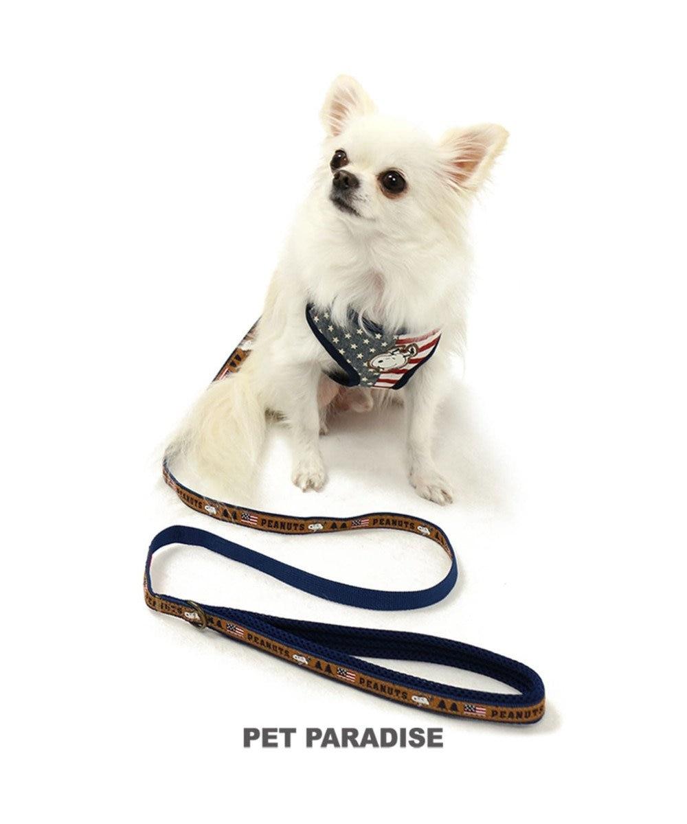 PET PARADISE スヌーピー リード USA柄 ペットM-L 茶系