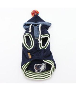PET PARADISE ペットパラダイス スヌーピーカレッジパーカー紺〔小型犬・超小型犬〕 紺(ネイビー・インディゴ)