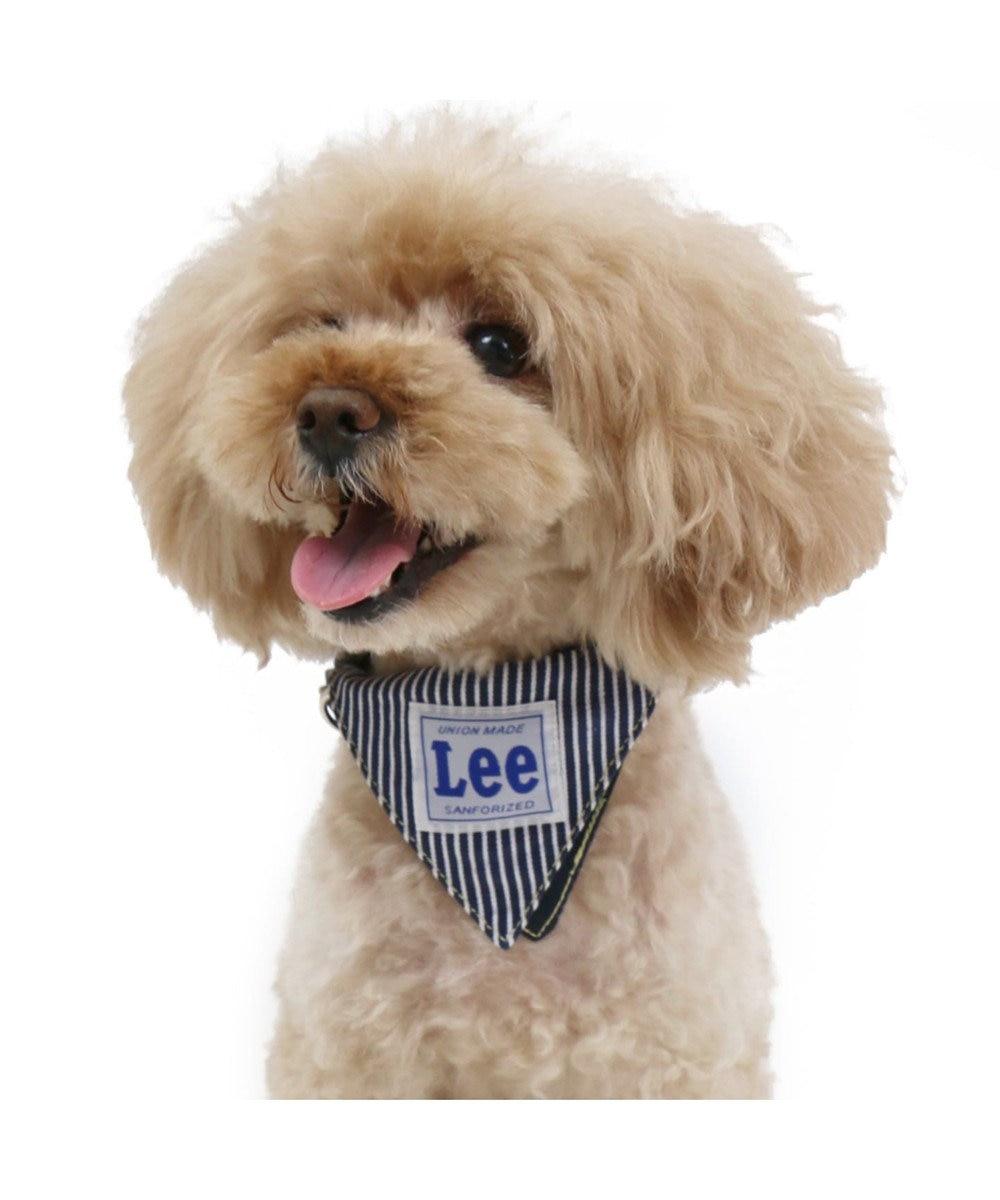 PET PARADISE Lee バンダナ ロゴ 首輪 ペットS 紺(ネイビー・インディゴ)