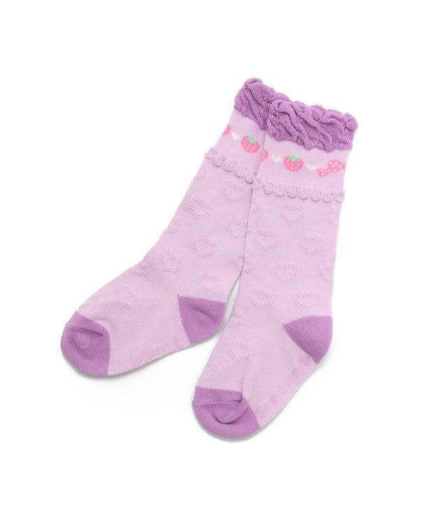 Mother garden マザーガーデン 野いちごハイソックス 紫ピンク 13cm~16cm 靴下