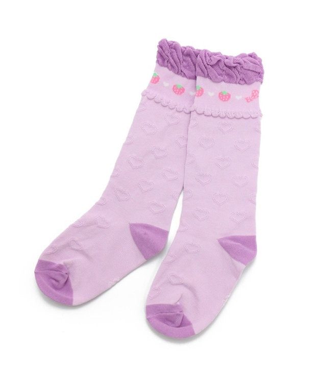 Mother garden マザーガーデン 野いちごハイソックス 紫ピンク 17~20cm 靴下