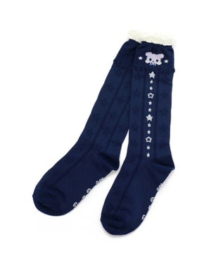 Mother garden くまのロゼット ハイソックス ネイビー 21~24cm 靴下 白~オフホワイト