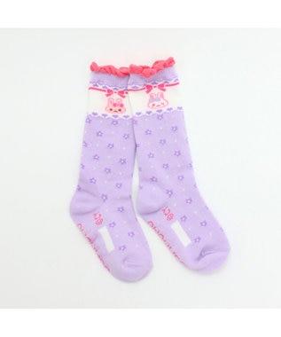 Mother garden うさもも ハイソックス 花柄薄紫 13~16cm 靴下 0