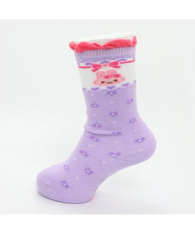 Mother garden うさもも ハイソックス 花柄薄紫 13~16cm 靴下