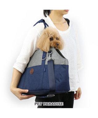 PET PARADISE J.PRESS 配色 トート ペットキャリーバッグM〔小型犬〕 紺(ネイビー・インディゴ)