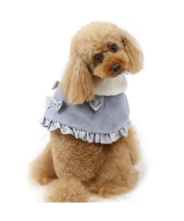 PET PARADISE ペットパラダイス リボン ファー ケープ グレー〔小型犬〕