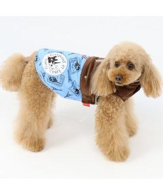 PET PARADISE リサとガスパール 切手 綿入れ ベスト青〔小型犬〕 水色