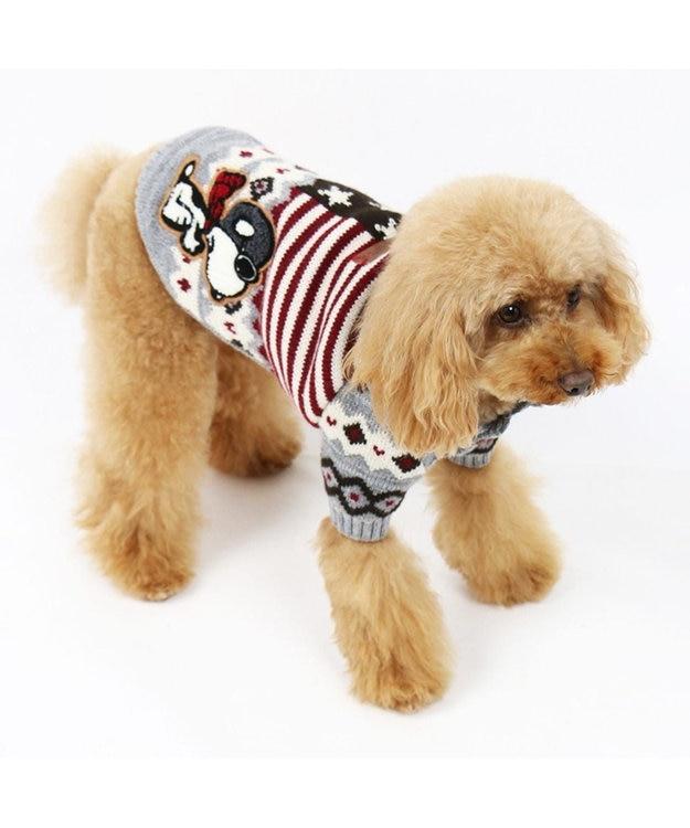 PET PARADISE ネット店限定 スヌーピー カウチンニット グレー〔中・大型犬〕