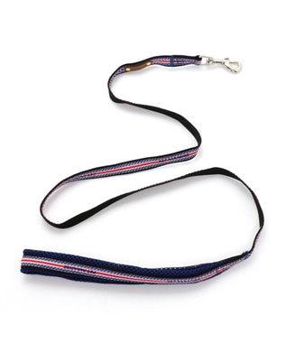 PET PARADISE ペットパラダイス ロゴ ボーダー リード 青 4S~3S〔小型犬〕 紺(ネイビー・インディゴ)