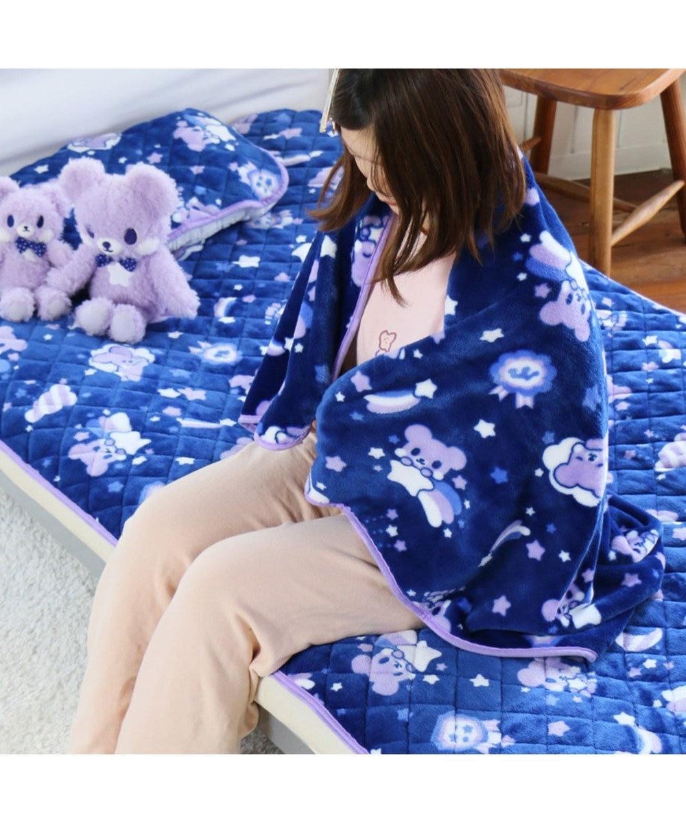 Mother garden くまのロゼット 大判ひざかけ ハーフ毛布 おやすみ柄 紫