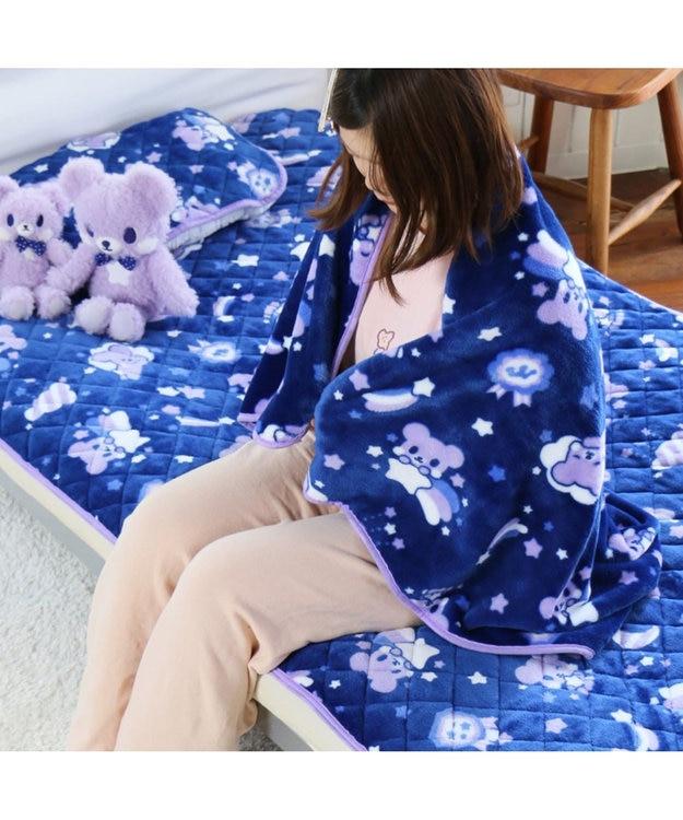 Mother garden くまのロゼット 大判ひざかけ ハーフ毛布 おやすみ柄