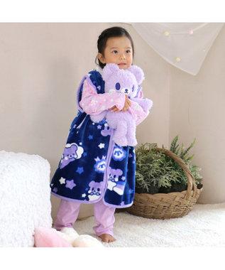 Mother garden くまのロゼット キッズ スリーパーベスト おやすみ柄  S M L サイズ 紫