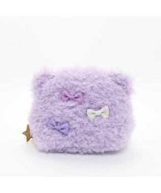 Mother garden まのロゼット もこもこ 耳付尻尾付き ポーチ 紫