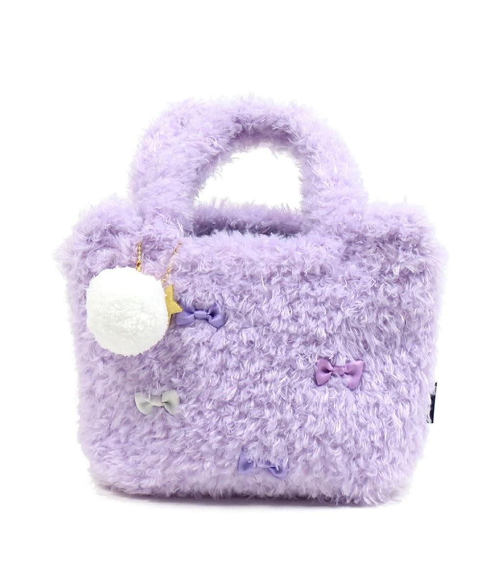 Mother garden くまのロゼット もこもこ耳付 バッグ ボンボンキーホルダー付き 紫