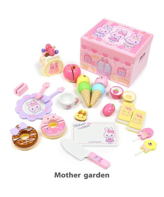Mother garden マザーガーデン 木製 ままごと うさもも スイーツショップ パステルリボン 木箱入り 木のおもちゃ 収納ボックス付き おままごと おもちゃ お菓子 アイス プレゼント お家 遊び