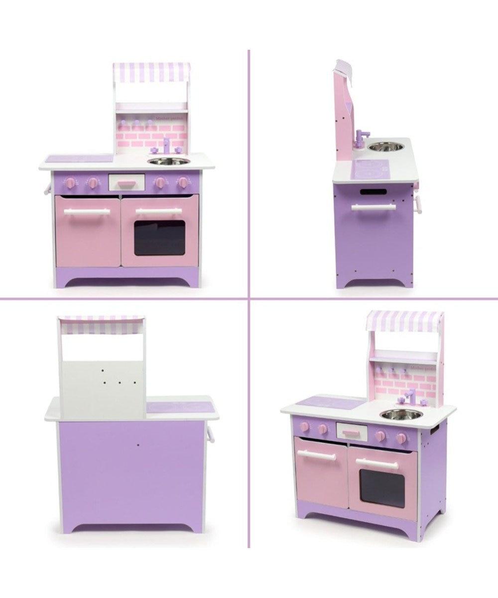 Mother garden マザーガーデン 木製 ままごと キッチン ネット限定 オープンカフェキッチン & 調理器具セット《ピンク パープル》 おままごと 対面 キッチン組み立て お誕生日プレゼント 子供の日 紫