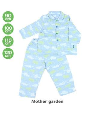 Mother garden きょうりゅう日記 ガーゼタオルパジャマ 90/100/110/120 センチ 青