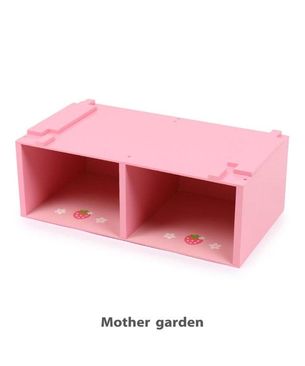 Mother garden マザーガーデン 野いちごままごと グリルキッチン用 高さ19cmUP台 継ぎ足し台 おもちゃ収納 継足し 台 木製 キッチン台 おもちゃ箱 ままごと収納 子供 イチゴ 女の子 おままごと収納