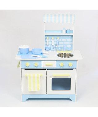 Mother garden マザーガーデン 木製 ままごと キッチン オープンカフェキッチン 単品 《スカイブルー》 おままごと 対面 キッチン 組み立て お誕生日プレゼント 玩具 子供の日 0