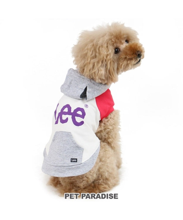 PET PARADISE Lee 切替 カラー パーカー 白〔小型犬〕