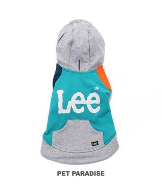 PET PARADISE Lee 切替 カラー パーカー 黄緑〔小型犬〕 青緑