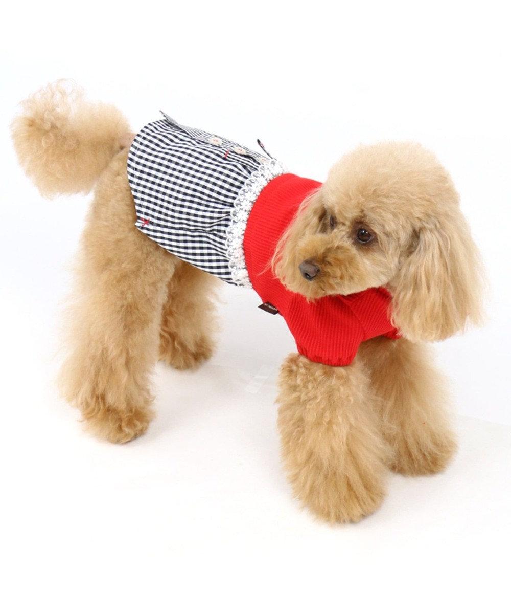 PET PARADISE ペットパラダイス 切り替え ワンピース 赤〔小型犬〕 赤